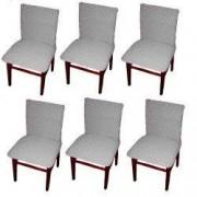 Set 6 huse elastice bicolore/gofrate cu bumbac fara volan pentru scaun TRADE STORE DELIVERY Bumbac si Poliester Gri deschis