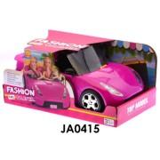 Autó babához, lányos, pink, csillámos, sportautó, két üléses, 36x16cm nyitott dobozban