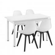 [en.casa]® Mesa de comedor de diseño elegante - 120cm x 60cm x 75cm - Con Set de 4 Sillas - 83cm x 54cm x 48cm - Con protección del suelo - Mesa Blanca - Sillas Blancas / Negras