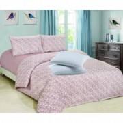 Set Lenjerie de pat Finet 2 persoane+Cadou 2 Perne 50x70 cm Albe Romstill Maro