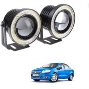 Auto Addict 3.5 High Power Led Projector Fog Light Cob with White Angel Eye Ring 15W Set of 2 For Fiat Linea Classic