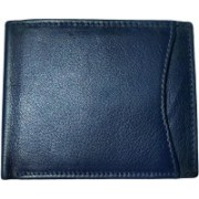 National Leathers Men Blue Genuine Leather Wallet(3 Card Slots)