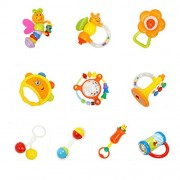 TOYMYTOY 10pcs Baby Rattles Teether Set Newborn Hand Bell Toys First Rattle Toys