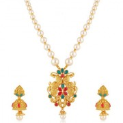 Om Jewells Traditional Ethnic Gold Plated Delicate Kundan Studded Jewellery Set for Girls and Women NL1000559