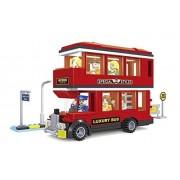 Ausini City Double Decker Tour Bus with Action Figures Building Bricks 282pc Educational Blocks Set Compatible to Lego Parts - Great Gift for Children