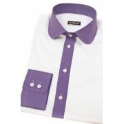 Bílá dámská košile s fialovou dlouhý rukáv Avantgard 721-0138-38