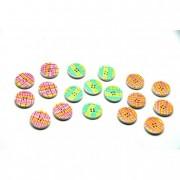 Gomb kockás mintás fa 18,5x7x1,5cm színes (18 db/szett)