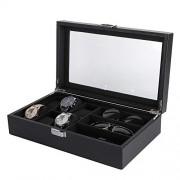 TMISHION Multi-funtion 3 Slot Vitrina, Lujosa PU 6 Slot Leather Glasses Box, Glass Lid Watch Organizador de Almacenamiento Elegent Regalos Regalos de cumpleaños para Hombres y Mujeres