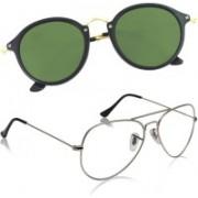 Phenomenal Aviator, Cat-eye Sunglasses(Clear, Green)