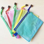 12 PCS Zipper Plastic Mesh Stationery Bag Random Color Delivery (A5 Size: 24x17.5cm)
