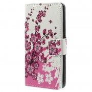 Capa de Pele tipo Carteira para Samsung Galaxy Alpha - Flores Cor-de-Rosa