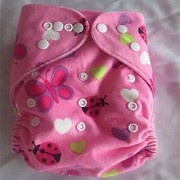 Tinytots Reusable Nappy washable Chemical free leak free Pocket Cloth Diaper - LADYBUG print with microfiber insert