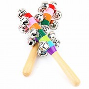 Mideand Baby Wooden Stick Rainbow Color Hand Bell Rattle (2 bells)