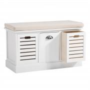 CARO-Möbel Sitzbank TRIENT in weiß mit Sitzkissen, 3 Schubkästen