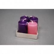 Adventi gyertya 4 db-os lila-rózsaszín