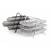 TAVITE DE BIROU 3/SET MESH SILVER FORPUS argintiu 3 compartimente Tavite documente Plasa metalica