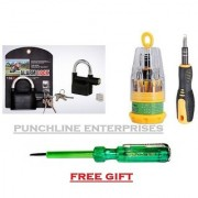 Combo of Alarm Lock with 31 in 1 Screwdriver and Free Electric Tester