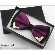 Fashion Metal Bow Ties for Men Women Wedding Party Butterfly Bowtie Gravata Slim Black Bow Tie Cravat - Purple