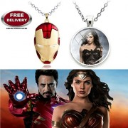 (2 Pcs SET) - IRON MAN HELMET (RED/GOLD) PENDANT & WONDER WOMAN (SILVER) 3D GLASS DOME IMPORTED METAL PENDANT WITH CHAIN. LADY HAWK DESIGNER SERIES 2018. ❤ LATEST ARRIVALS - NOW ON SALE IN AMAZON - RINGS, KEYCHAINS, NECKLACE, BRACELET & T SHIRT - CAPTAIN