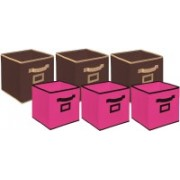Billion Designer Non Woven 6 Pieces Small & Large Foldable Storage Organiser Cubes/Boxes (Coffee & Pink) - CTKTC35369 CTLTC035369(Brown & Pink)