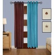 Iliv Plain Curtains Set Of 2 -1Brown1Aqua7Ft