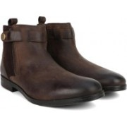 Clarks Brocton Mid Brown WLined Lea Boots For Men(Brown)