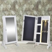 vidaXL Armário branco de joalheria com LED e porta espelho