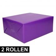 Shoppartners 2x rollen Kadopapier paars 200 x 70 cm op rol