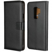 Black Genuine Leather Business Wallet Case For Samsung Galaxy S9 Plus