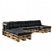 [en.casa]® Paletový nábytek - interiérová sada polštářů - model F - tmavě šedá