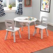 Kerek játéktárolós asztal és székek szett, Kidkraft - Szürke, fehér