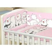 MamaKiddies Baby Bear 5 részes ágynemű 360°-os rácsvédővel pink színben jegesmacis mintával