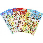 Christmas Santa Claus Stickers 6 Sheets with Snowman and Reindeer Happy Faces Kids Stickers Toys Gifts - 300 Stickers