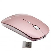Smart-US 2.4G Rechargeable mobile portable wireless optical mouse with USB receiver, mute type mice,3 adjustable DPI levels, for notebook, PC, laptop, computer, macbook by (Rose Gold)