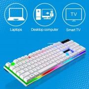 ZGB G21 1600 DPI Professional Wired kleurrijke Backlight mechanische gevoel schorsing toetsenbord + optische muis Kit voor Laptop PC(White)