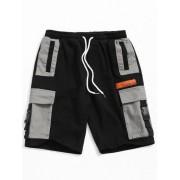 Zaful Short cargo à poches à blocs de couleurs Noir L