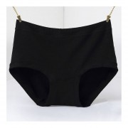 Female Middle-waisted Briefs Simple Solid Color Comfortable Cotton Panties Black