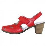 Pantofi piele naturala dama - rosu, Rieker - toc mediu - 40974-33-Red