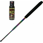 Baston telescopic profesional 66 cm din 3 segmenti si spray Autoaparare Piper Jet 100ml