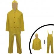 vidaXL Costum de ploaie impermeabil cu glugă, L, galben, 2 piese