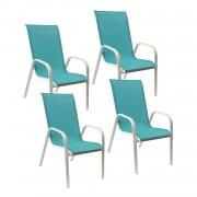 Happy Garden Lot de 4 chaises MARBELLA en textilène bleu - aluminium blanc
