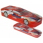 Parteet Multicolour Cartoon Printed Car Shape Matal Pencil Box with Small Car for Kids (Spider Man)