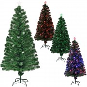 [en.casa]® Цветна коледна елха със стъклени влакна и със стойка - 180 см.