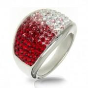 Ocelový prsten s krystaly Crystals from Swarovski®, RED