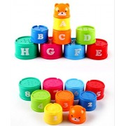ELECTROPRIME® Plastic Stacking Rainbow Stack Up Cups Blocks Kids Childrens Educational Toy