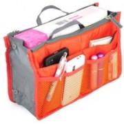 venja Multi Purpose Travel Nylon Hand Bag Cosmetic Pouch Makeup Organizer Travel Toiletry Kit(Orange)