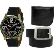 Crude Combo of Analog Black Dial Watch-rg738 With Black Leather wallet