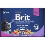 Hrana umeda pentru pisici Brit, felii de peste, 4 plicuri x 100 g