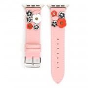 Flower Decor Genuine Leather Watch Strap Wrist Band Replacement for Apple Watch Series 4/5 44mm / Series 1/2/3 42mm - Pink