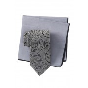 Ted Baker London Silk Tonal Paisley Tie Pocket Square Set GREY